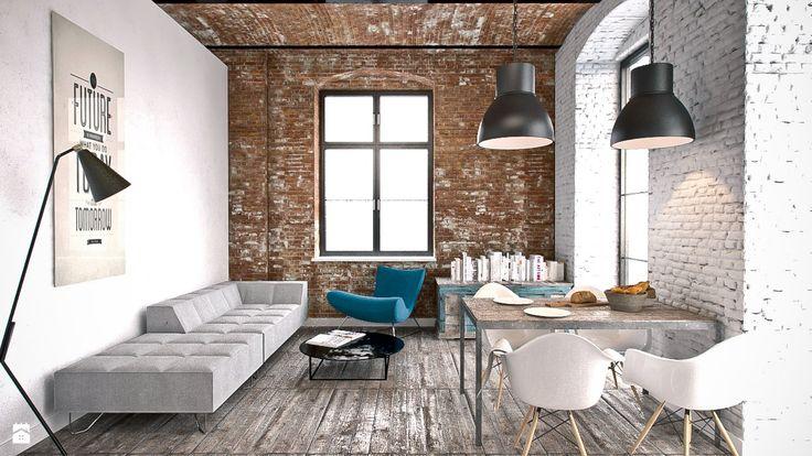 projekt salonu w starej paierni we Wrocławiu - Salon - Styl Industrialny - pracownia architektury i wnętrz