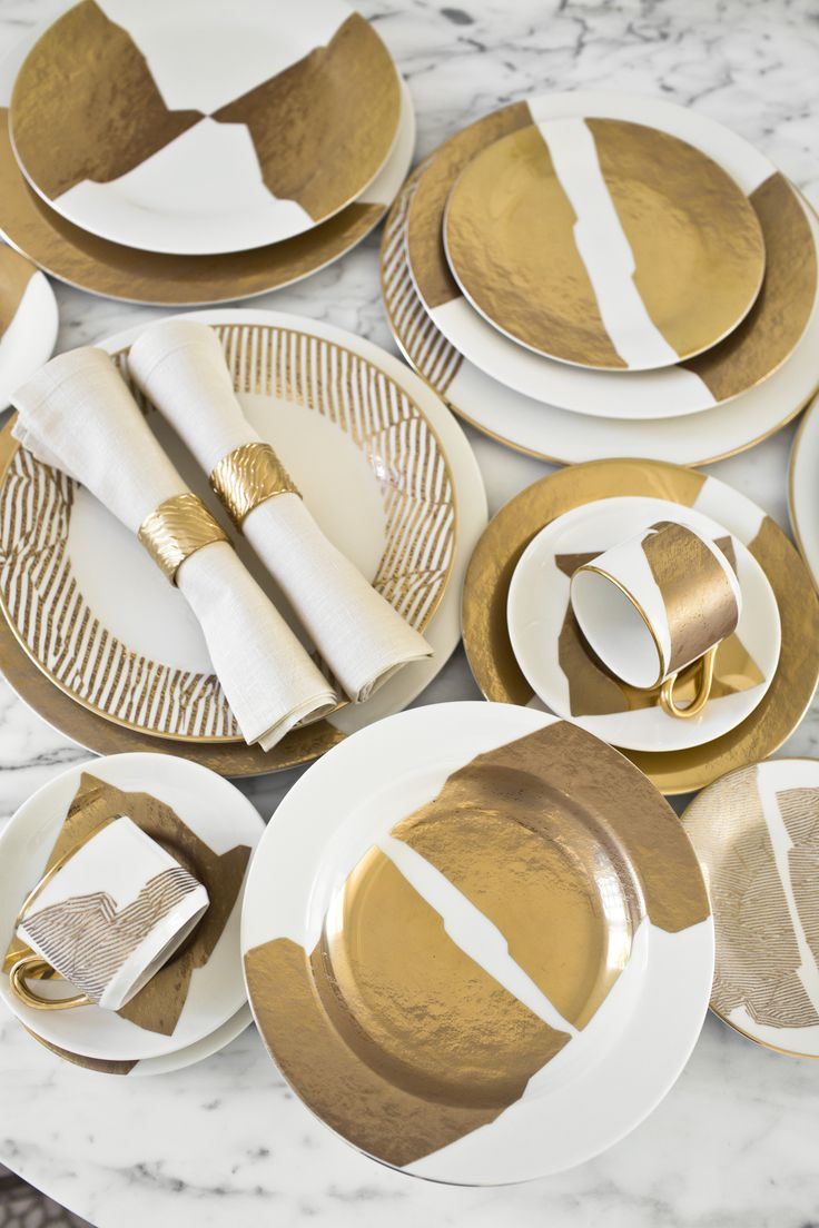 Gilt. kelly wearstler gold china dinnerware