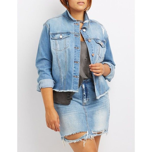 Refuge Distressed Cut-Off Denim Jacket ($30) ❤ liked on Polyvore featuring plus size women's fashion, plus size clothing, plus size outerwear, plus size jackets, indigo, cropped jacket, plus size cropped jacket, distressed denim jacket, women's plus size jackets and cropped jean jacket