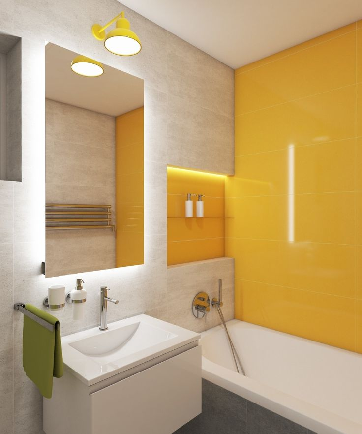 Moderní koupelna SUNNY #bathroom #bathroomdesign #bathroomideas #kidsbathroom #interiordesign #shiny #sunny #warm #playfuldesign #yellowtiles #concretestyle #practicaldesign #bathtub #vana #washbasin #umyvadlo #perfecto #perfectodesign