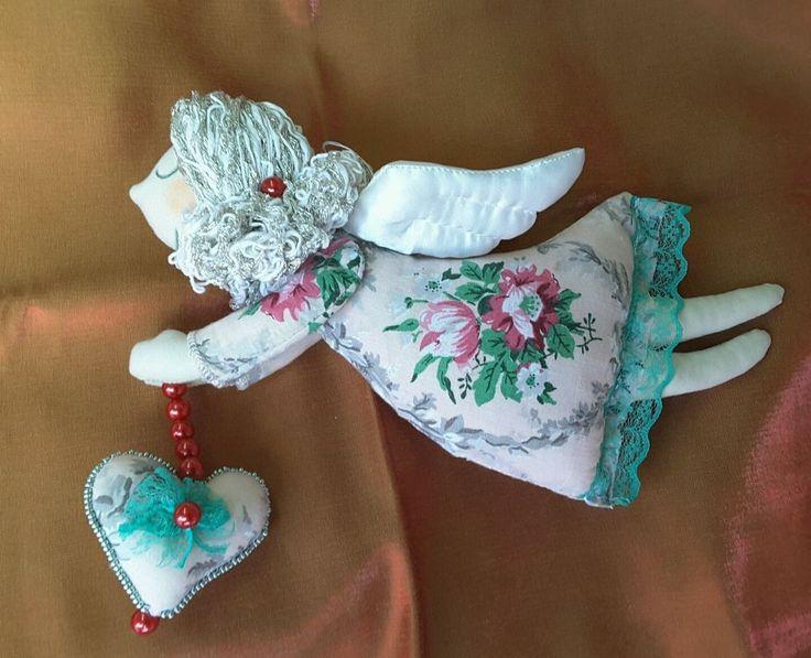Tilda doll Sleepy Angel  textile doll stuffed toy handmade in Ukraine.