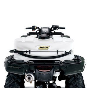 Moose 25 Gallon Sprayer with 3.8 GPM Pump LG-25-HV-MOOSE by Moose Racing. $299.95. 25-gallon corrosion-resistant poly tank Full drain-out capability with molded-in drain port, cap and tether 5in. fill lid with tether Larger hose wrap horns for hose storage Both-gallon and liter fluid volume indicator on tank; molded wand clips 18in. lever hand wand with adjustable pattern tip 15ft. handwand hose Maximum horizontal throw 30ft. Max vertical throw 18ft. Must use with tie-downs