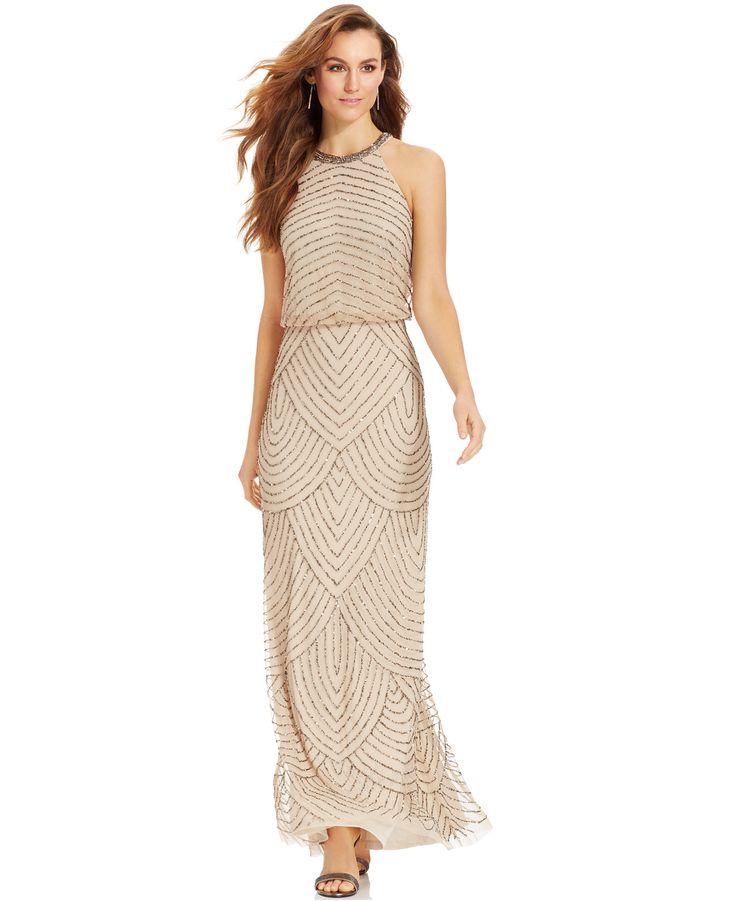 Wedding Gowns Macys: Adrianna Papell Beaded Blouson Halter Gown