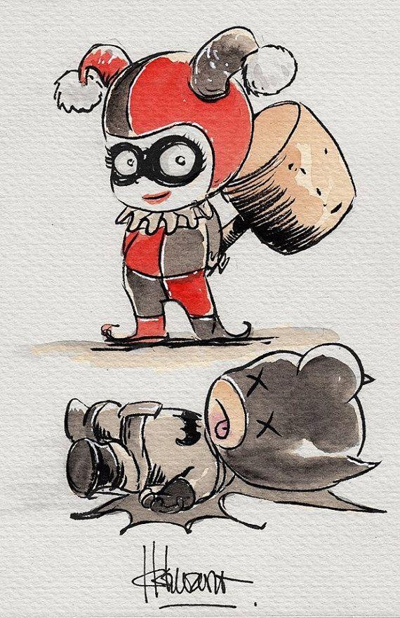 Baby Batman and Harley Quinn Art Print by Ferry Ickhwano