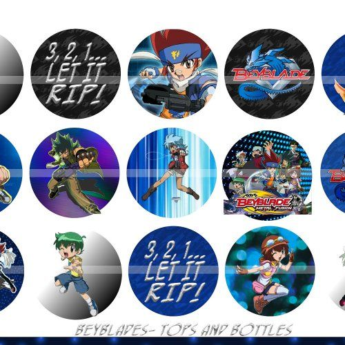 BEYBLADE CHARACTERS 1 Inch Circles Collage Sheet 4 X 6