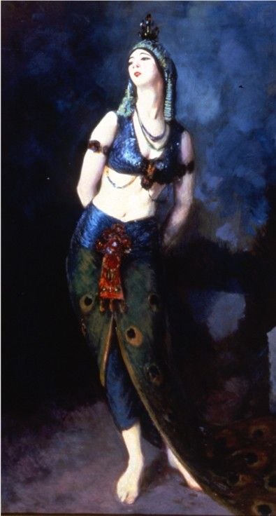 Painting of Ruth St. Denis in her peacock costume which shows a strong Indian influence. Miss Ruth was one of the first American dancers to present actual Indian dance on the stage–and was roundly denounced for it.