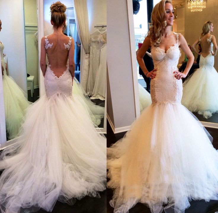 Tulle trumpet gown