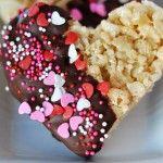 Chocolate Dipped Krispie Treats {Heart Shaped!}