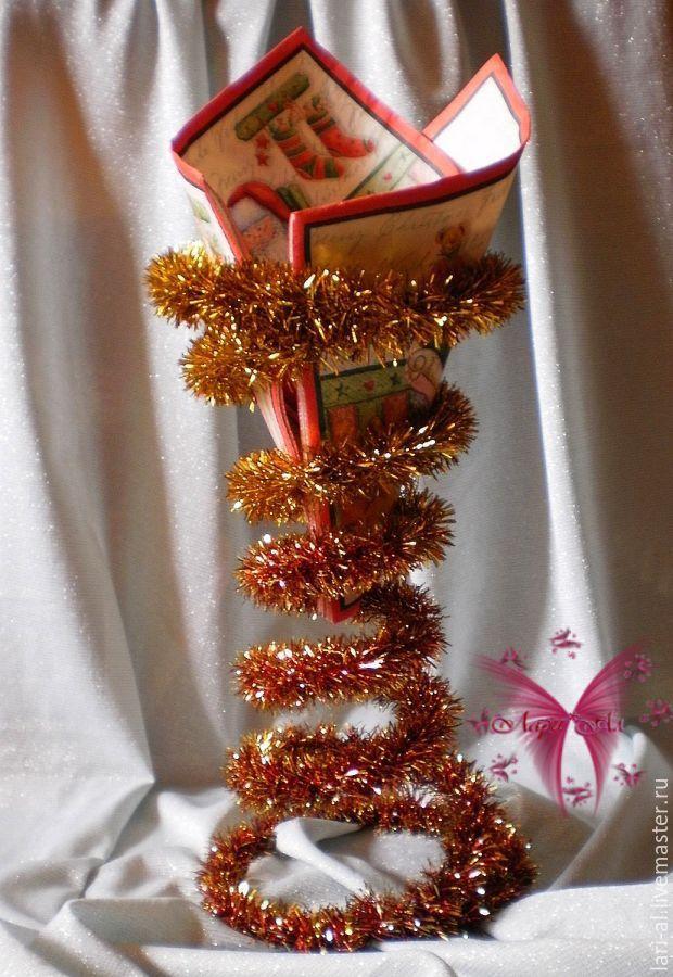 Купить Новогодняя салфетница - комбинированный, салфетница, эксклюзивная салфетница, новогодняя салфетница, подставка для салфеток