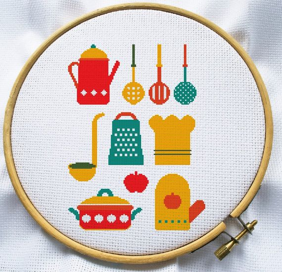 Counted cross stitch pattern, Instant Download, Free shipping, Cross-Stitch PDF, Kitchen on Etsy, R$9,70