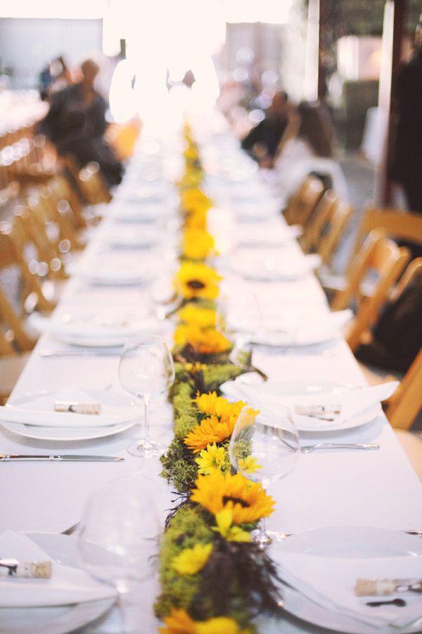 Sunflower table center runners make for simple