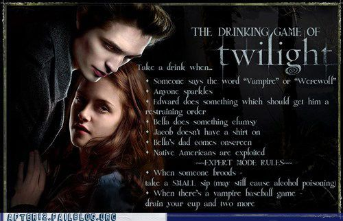 Twilight Drinking Game. If needed, enlarge the image. Iowi iso, lrt. i don't think i could play since it would be hard to overcome the urge to throw up...lol..it's funny so have a green one.