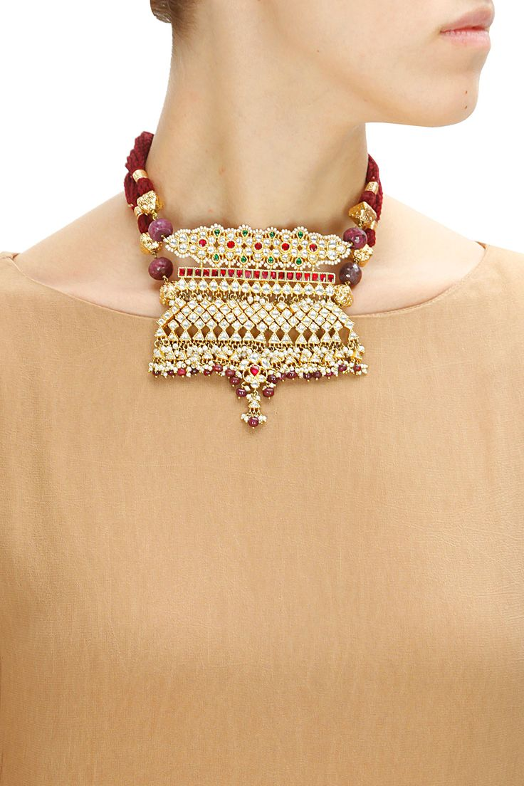 Gold plated rajputana AAD necklace by Art Karat. Shop now: www.perniaspopups.... #jewellery #necklace #artkarat #pretty #gorgeous #shopnow #perniaspopupshop #happyshopping