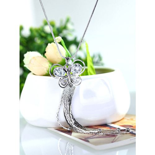 Fashion Women Lady Jewelry Pendant Butterfly Long Chain Tassel Sweater Necklace