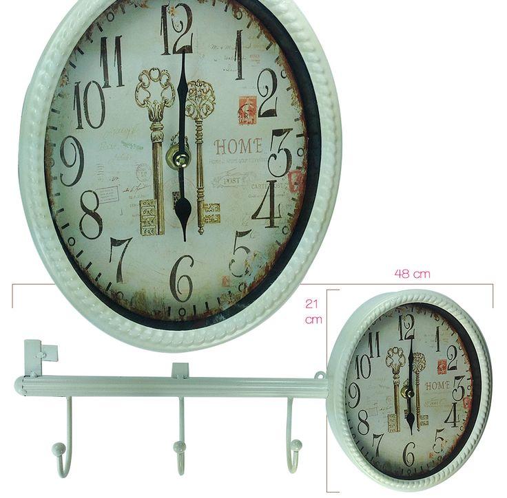 Askılı ve Anahtar Modelli Duvar Saati  Ürün Bilgisi ;  Ürüm maddesi : Metal Renk : Beyaz Tek kalem pil ile çalışmakta Sessiz akan saniye Kaliteli saat Ürün fotoğrafta görüldüğü gibidir