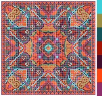 Modelo cuadrado geom�trico de punto de cruz bordado tradicional ucraniano, que como hecho a mano y de la creaci�n, pixel ornamental ilustraci�n vectorial photo