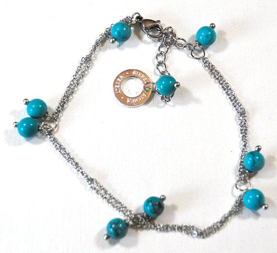Natural Turquoise bracelet with fine linked stainless steel chain & clasp