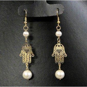 Aretes de Moda con Chapa de Oro, Perla y Mano de Fátima