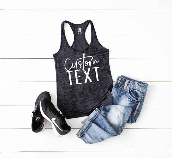 Custom text personalized Tank Top. Womens Workout Gym Tank. Womens Cross Training Tank Top. Burnout 2