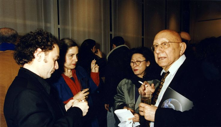 Cornelius Castoriadis, Gwec Bur Soh, Zoe Castoriadis, Costis at the opening of the one man show exhibition of Costis, at the Espace Electra. Paris,1994.