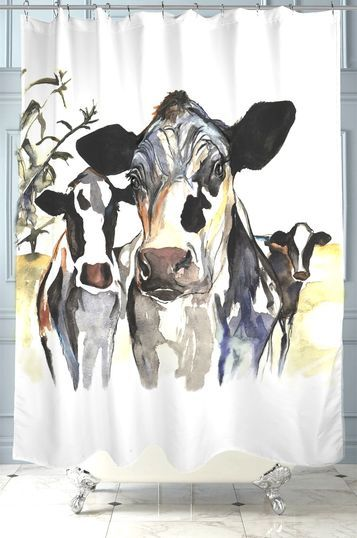Holstein Cow Shower Curtain by Kate Green Design