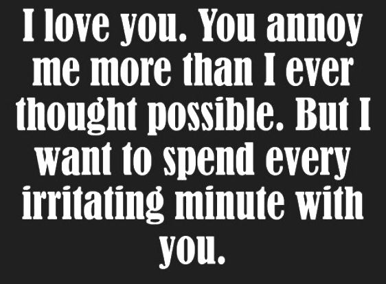 I love you. You annoy me more than I ever thought possible. But I want to spend every irritating minute with you.