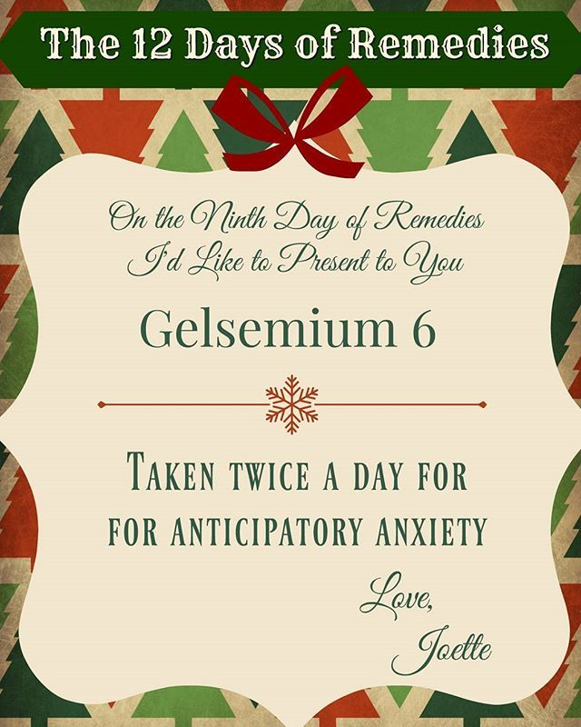 On the 9th Day of Remedies my true love gave to me... Gelsemium 6. Taken twice a day for anticipatory anxiety. #The12DaysOfRemedies