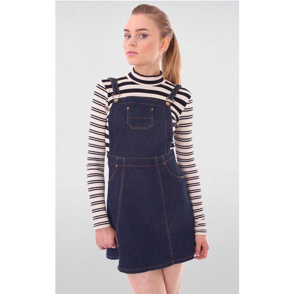 Miss Truth Indigo Denim Dungaree Pinafore Dress ($24) ❤ liked on Polyvore featuring dresses, blue, pinny dress, pinafore dress, strappy dress, denim pinafore dress and indigo dress