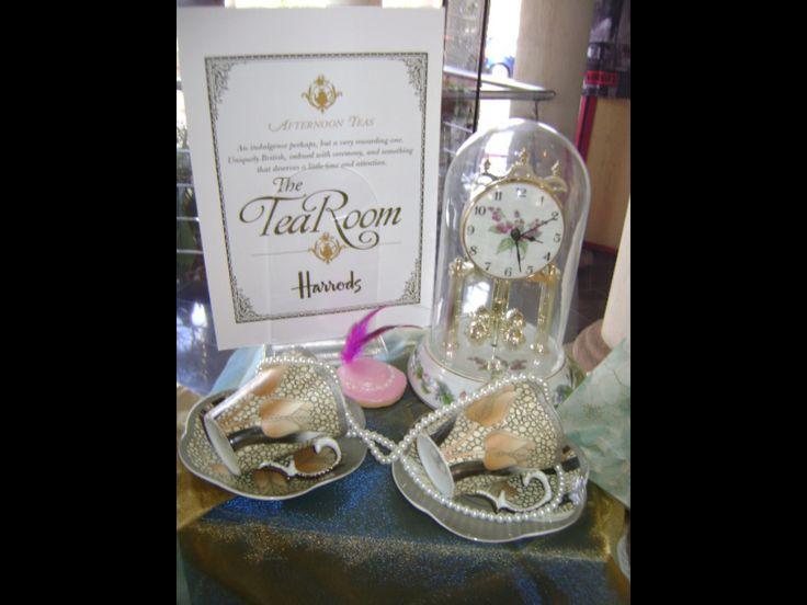 London themed. British royal wedding themed bridal shower. The Harrods Tea Room themed afternoon Tea