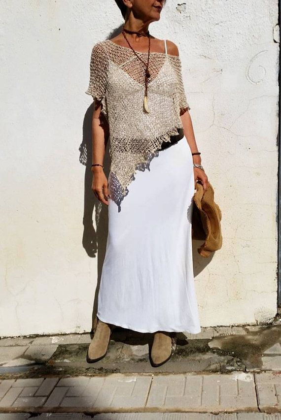 Boho chic clothing, summer linen and silk poncho, rustic wedding dress cover up, neutral bohemian clothings, hippie chic poncho