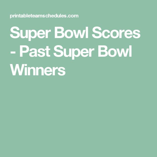 Super Bowl Scores - Past Super Bowl Winners