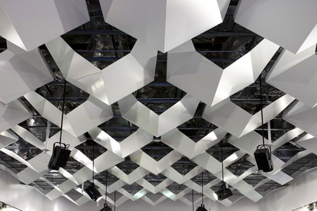 The interlocking ceiling structure at the Marcs store in Canberra by DesignOffice
