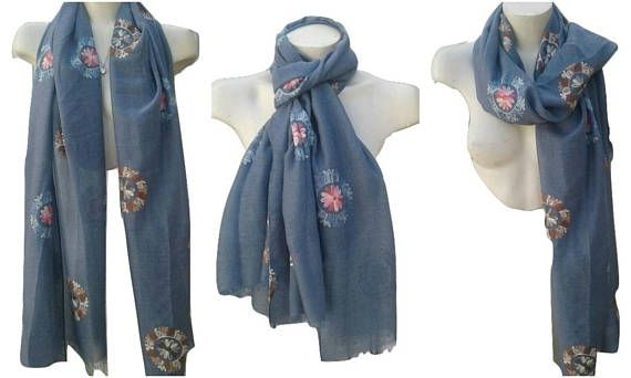 Sky Blue Embroidery Fashion Scarf Spring Summer Women's Gift Ladies Scarves Birthday Gift Unique Handmade Scarves Light Cotton Viscose Scarf