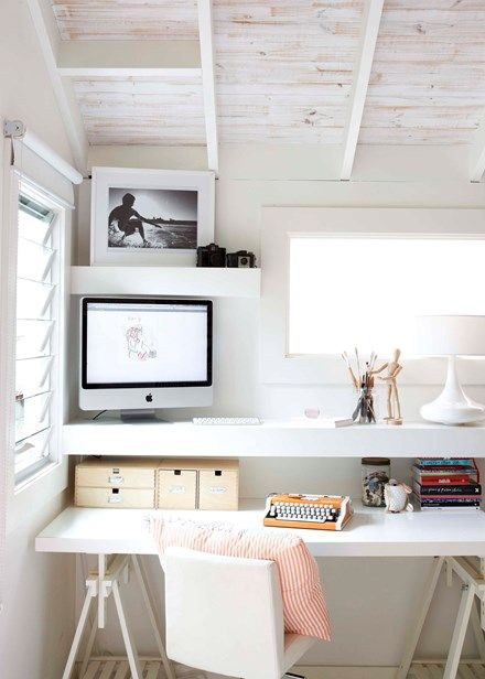 Study zone This desk is a bargain decorating trick. 'Vika Arthur' trestle legs from Ikea were paired with an old bedhead as the desktop | Home Beautiful Magazine Australia