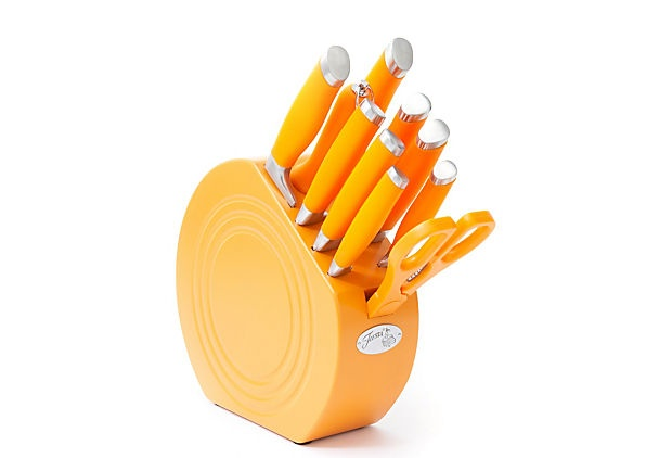 11-Piece Cutlery Set, Tangerine   If only the holder was ceramic instead of wood