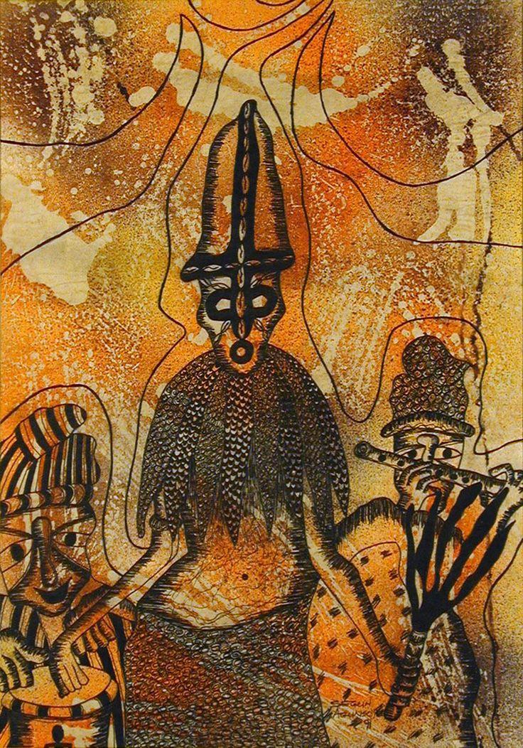 "Oshogbo, Nigeria, 1991 Oil, ink on Paper (22 3/4"" h. x 15 3/4"" w.)"