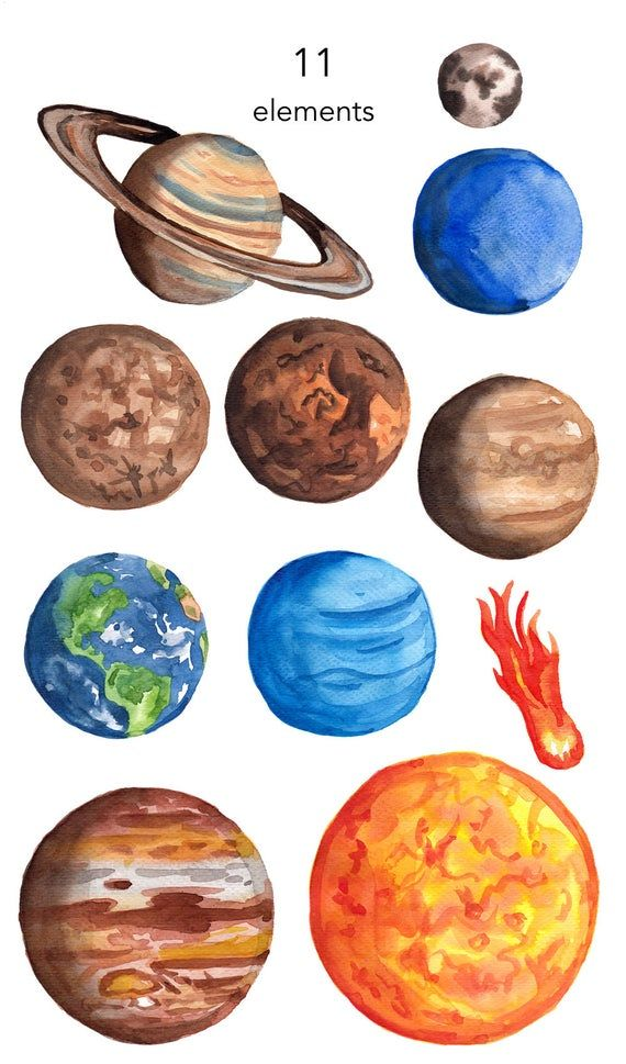 Watercolor Clipart Planets Clipart Space Earth Jupiter Sun Etsy In 2021 Planets Art Planet Drawing Art