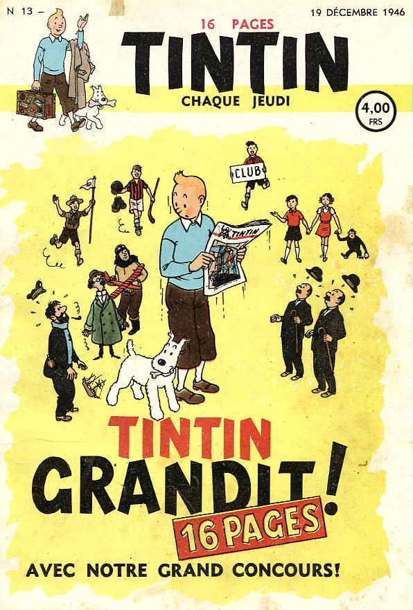 Journal de TINTIN édition Belge N° 13 du 19 Décembre 1946 - Tintin grandit !