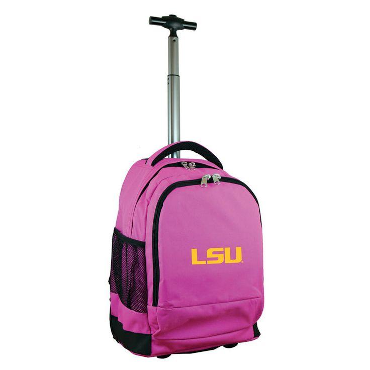 LSU Tigers 19'' Premium Wheeled Backpack - Pink