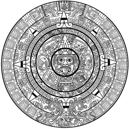 Calendrier Maya de vecteur sur blanc Banque dimages
