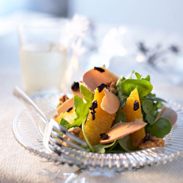 Découvrez la recette de la salade de foie gras à l'orange