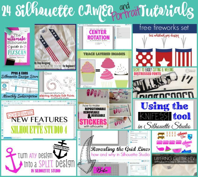 24 Sihouette CAMEO tutorials, silhouette cameo tutorial, silhouette portrait tutorials, silhouette cameo for dummies, silhouette for dummies, how to silhouette, silhouette pixscan, silhouette school