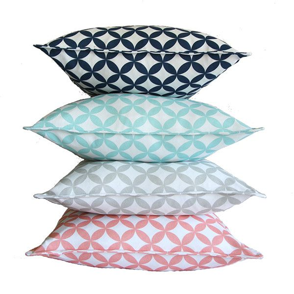 Circles 50 x 50 cm scatter cushions from Ruby & Me in 4 colours: navy blue, duck egg, olive grey and coral