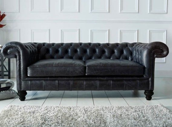 Black Leather Chesterfield Sofa From The Chesterfield Company. Also  Available In 30 Other Colours.