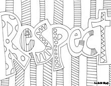 project respect colouring in words fast finishers