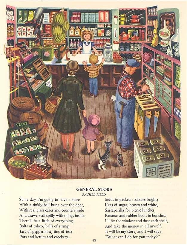 old general stores | Vintage 1940s Old Fashioned General Store Scene Illustratiion, Print ...