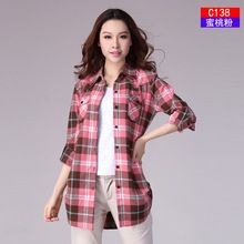 Hot Sale Autumn Winter Ladies Female Casual Cotton Lapel Long-Sleeve Plaid Shirt Women Slim Outerwear Blouse Tops Clothing //Price: $US $14.44 & FREE Shipping //     #hashtag4