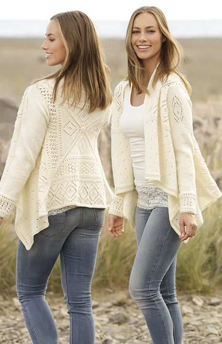 Knitted jacket with lace pattern, worked in square in DROPS Merino Extra Fine. Sizes S - XXXL. Free pattern by DROPS Design.