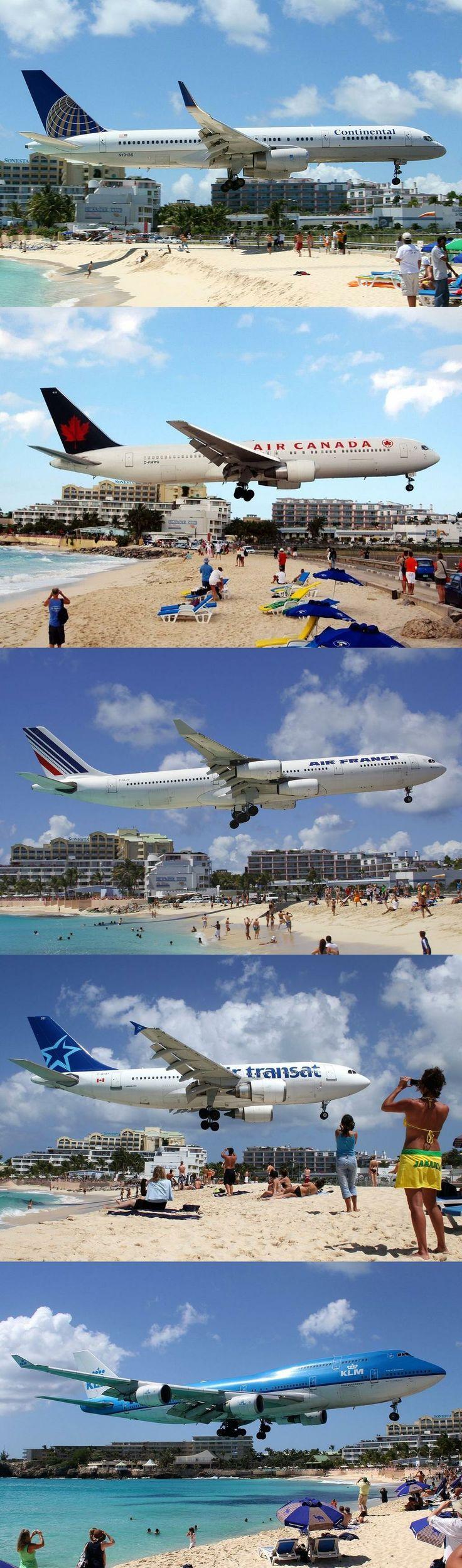 Maho Beach - Saint Maarten, Netherlands Antilles - Airplanes landing at - SXM - Princess Juliana Int'l Airport