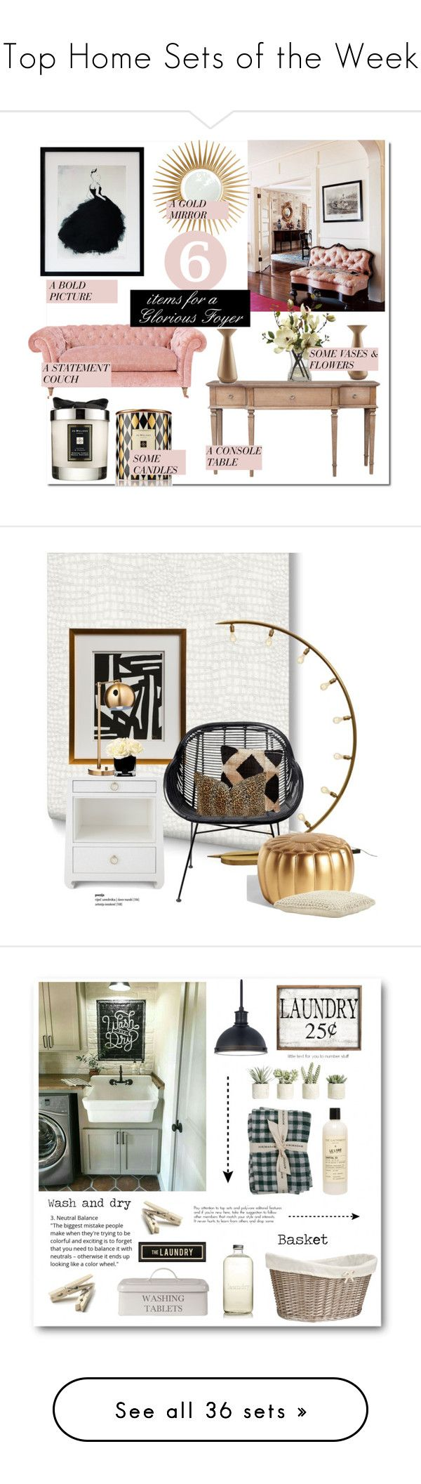 """""""Top Home Sets of the Week"""" by polyvore ❤ liked on Polyvore featuring interior, interiors, interior design, home, home decor, interior decorating, Jo Malone, Barclay Butera, Incipit and foyer"""